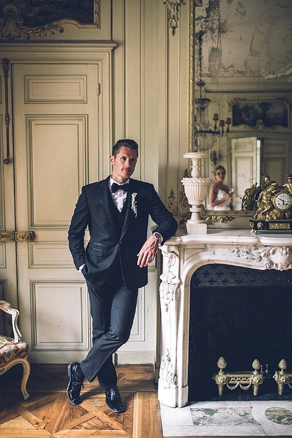 Black tie wedding groom