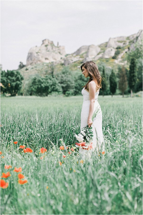Bride against the backdrop of the romantic Provence countryside