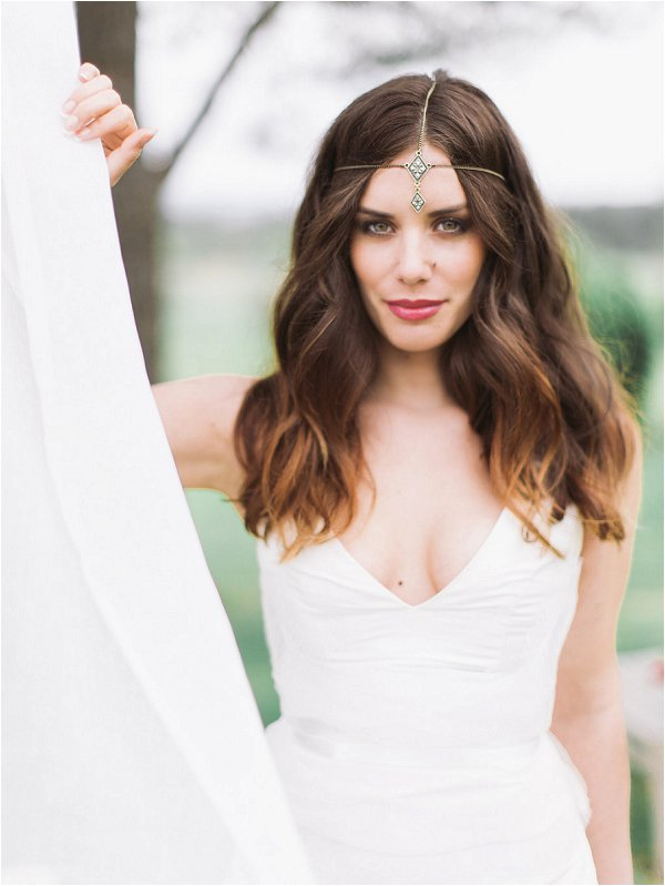 Bride wearing gorgeous head dress in Provence Wedding Inspiration photo shoot
