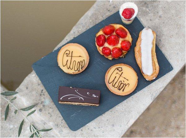 Delicious French desserts including tarte au citron and tarteletter au fraises
