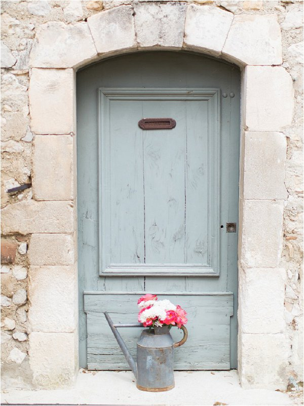 Duck egg blue traditional doorway in Provence