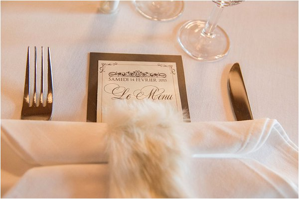 Fur napkin holder at French winter wedding