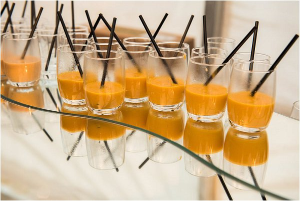 Hot soup to welcome guests to winter wedding