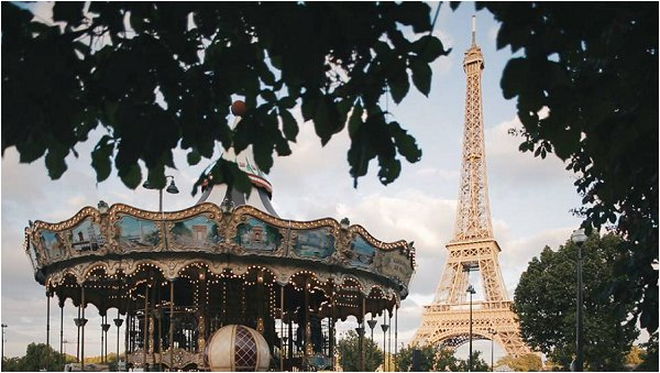 Parisian merry go round next to the Eiffel Tower