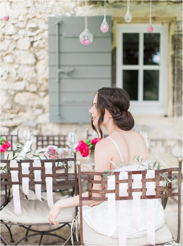 Simple and elegant bridal hairstyle in relaxed Provence wedding photo shoot