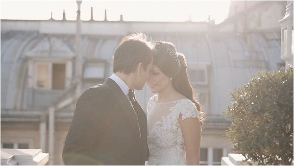 Stunning Bride and Groom on a Parisian rooftop