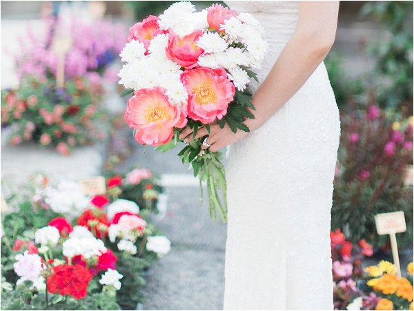 Stunning pink and white peonies in bridal bouquet
