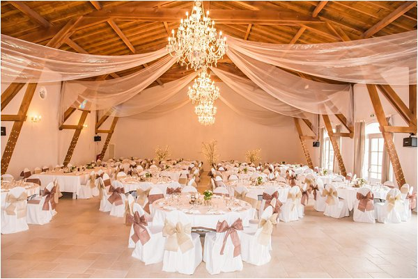 Stylish and neutral winter wedding reception at Chateau de Montrouge