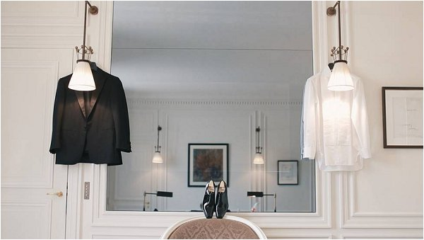The Grooms tux hung and ready to wear