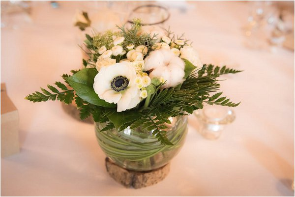 Winter wedding flower posy for guests tables