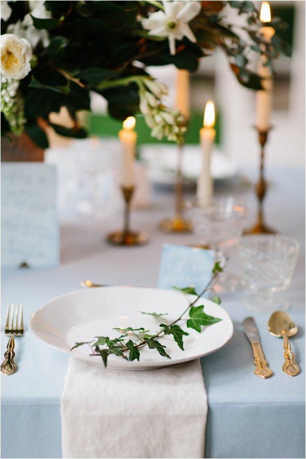 ivy plac setting at wedding