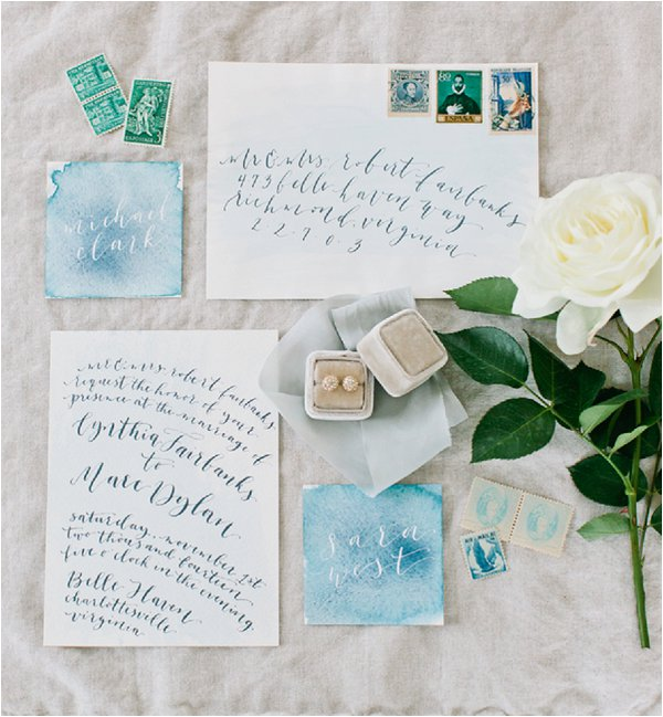 pale blue and white wedding stationery