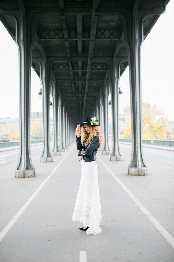 rock chick bride in Paris