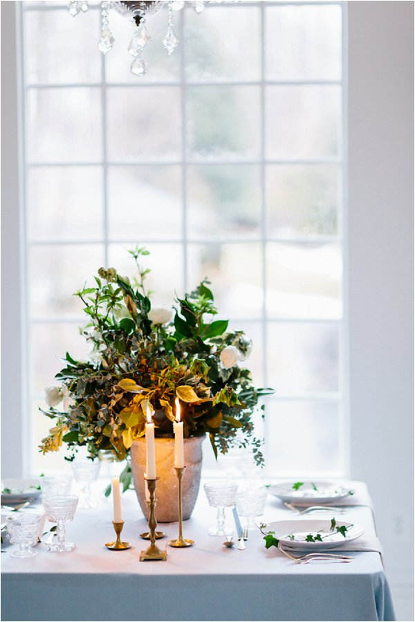 romantic candles on wedding table