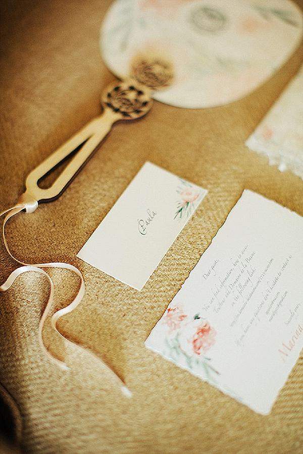 Beautiful fan wedding stationary