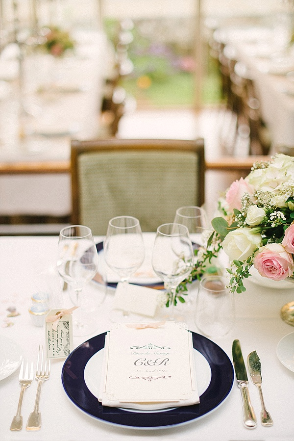 Classic wedding table settings