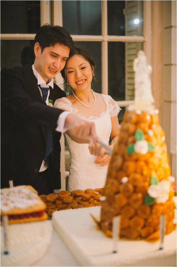 Cutting the croquembouche