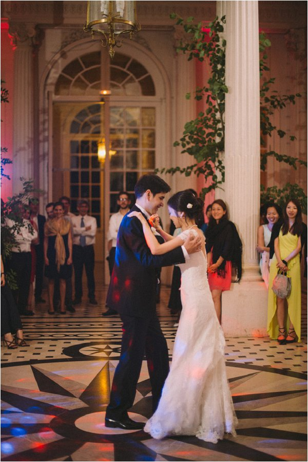 Enjoying the first dance at Chateau de Baronville