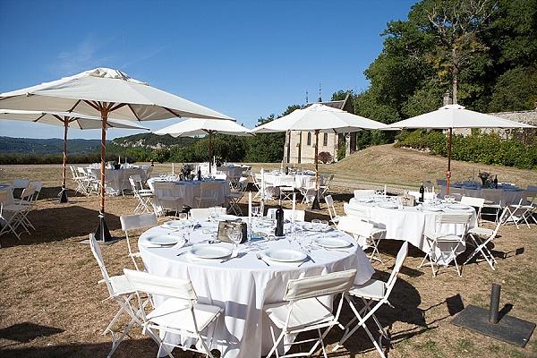 Outdoor reception wedding dinner