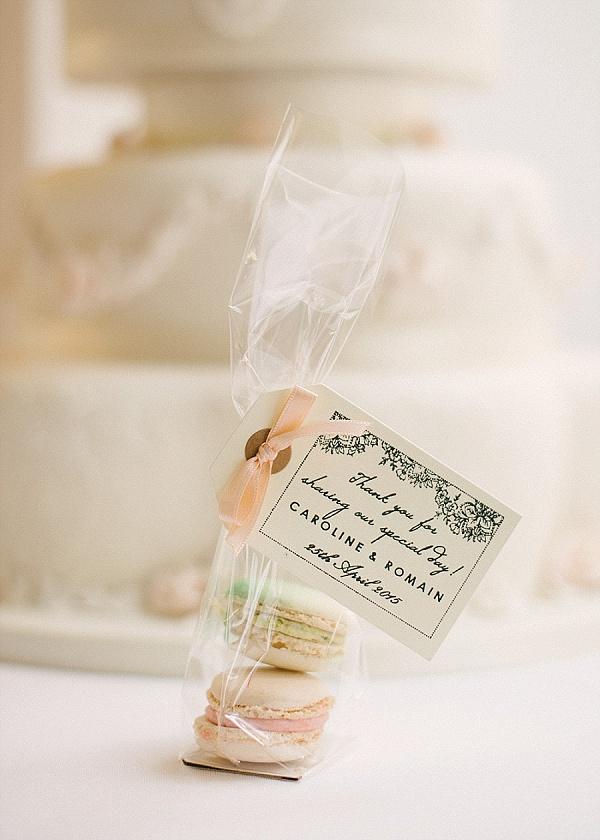 Pretty macaron wedding favours