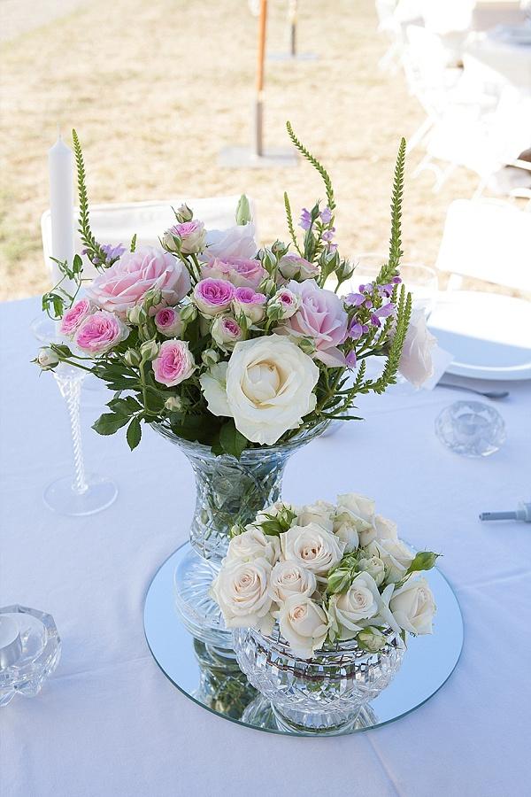 Pretty rose wedding center pieces