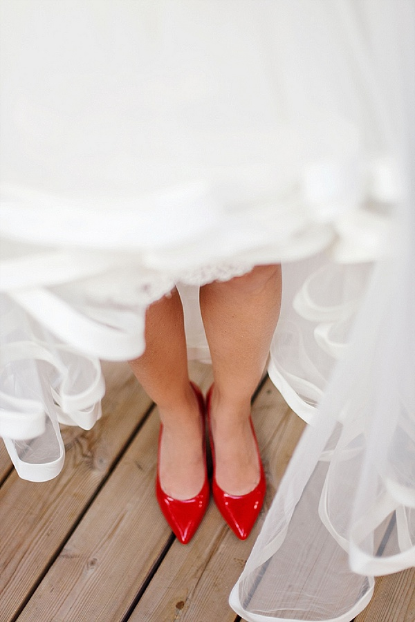 Red wedding shoes brides