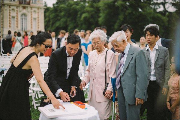 Wedding guests admiring photos in destination French wedding