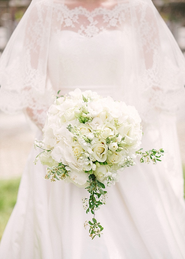 Whtie and Green bridal bouquet