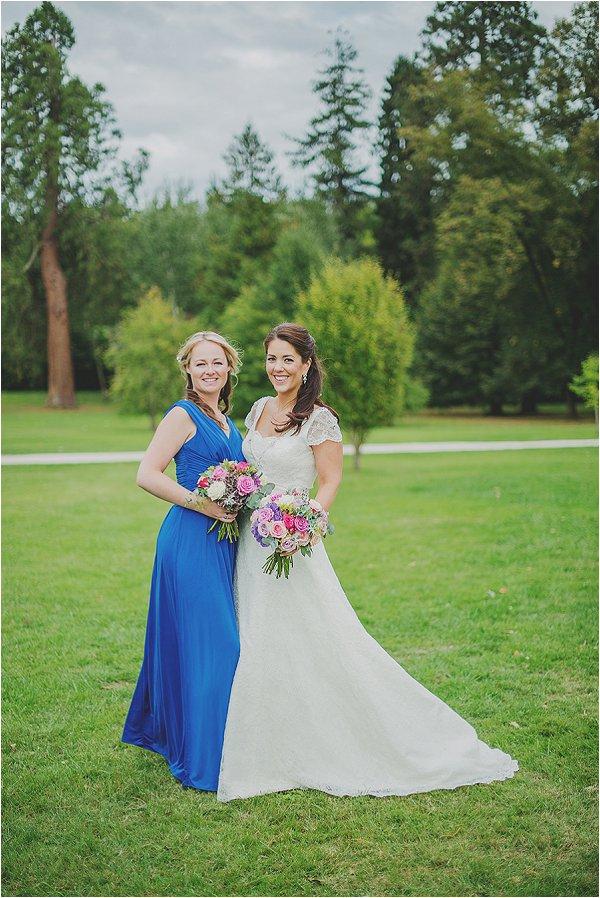 bride and cobalt blue bridesmaid
