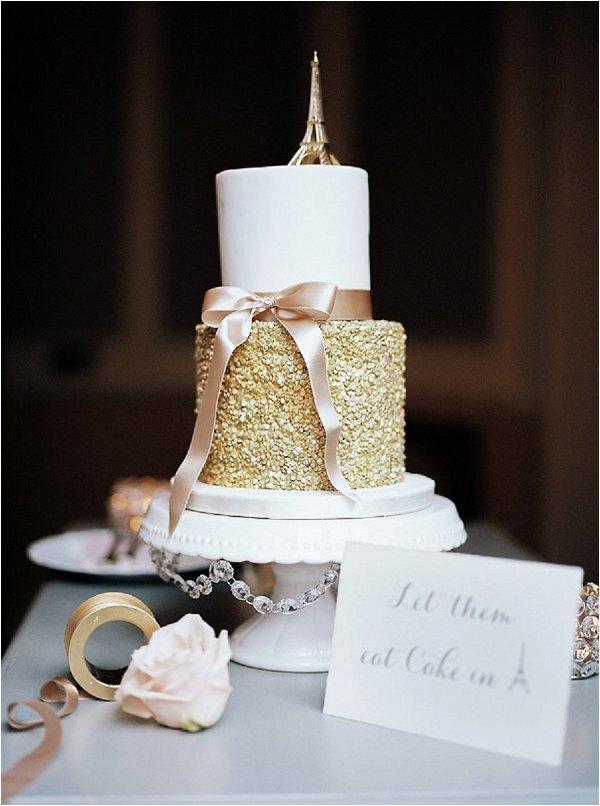 gold and cream wedding cake in Paris