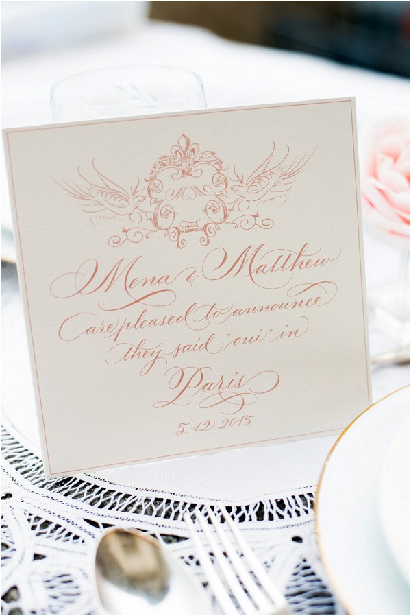 peach and white wedding stationery