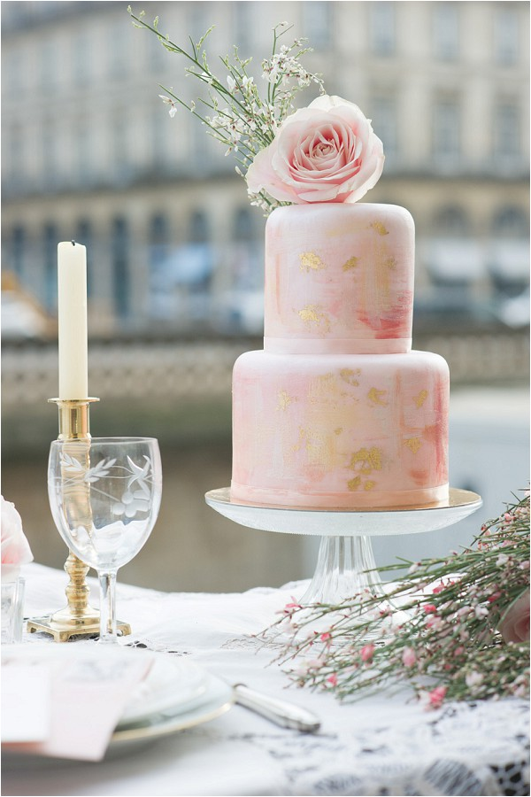 peach painted wedding cake