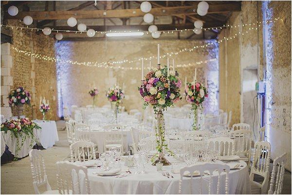 pretty French barn wedding reception