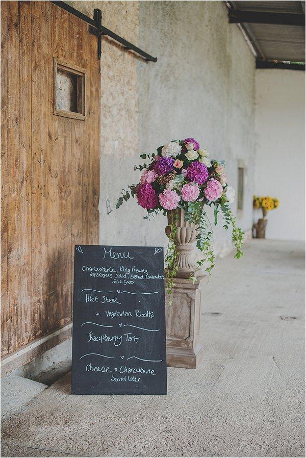 rustic barn wedding menu