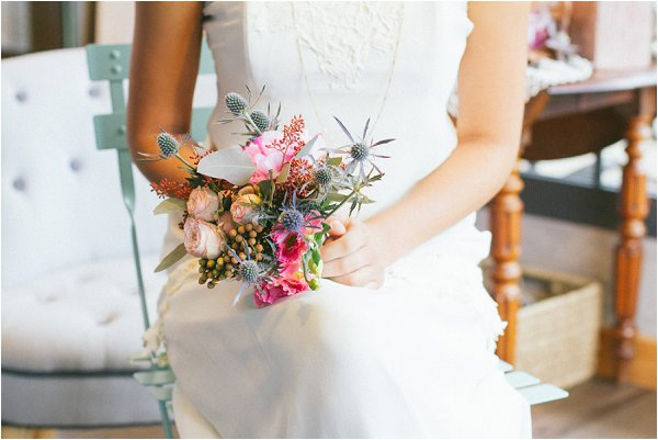 vibrant and textured wedding bouquet