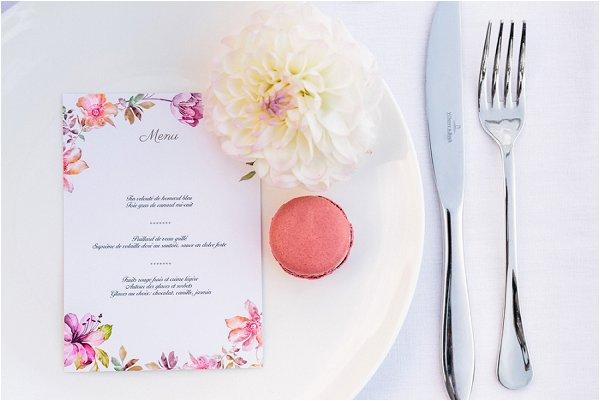 watercolour wedding menu