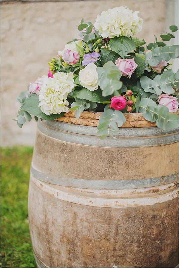 wedding flowers on barrel