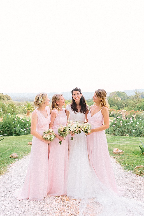 Blush floaty bridesmaid dresses