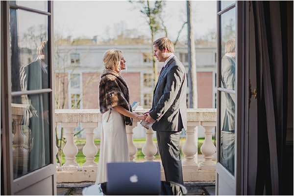 Bride and groom say their vows at Hotel Trianon