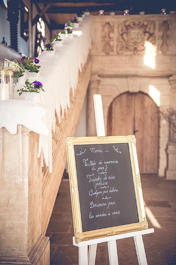 Chalk board wedding menu