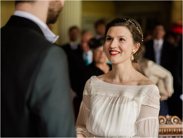 Chic French Bride looking into the eyes of her groom