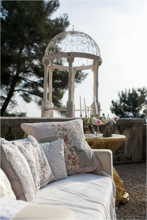 Comfortable guest seating at Chateau Saint Georges
