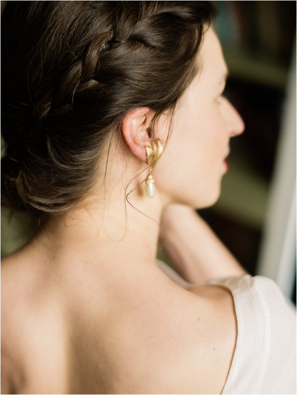 Gold and pearl bridal earrings