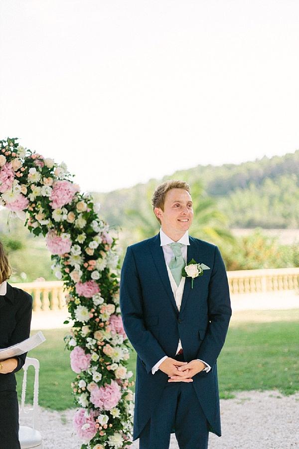 Groom awaiting his pronovias bride