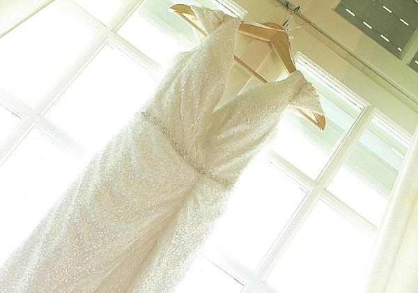 Low cut sequin wedding dress