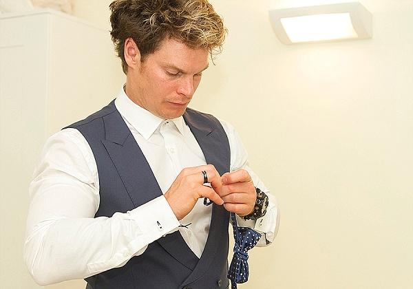 Navy blue bow tie groom wear