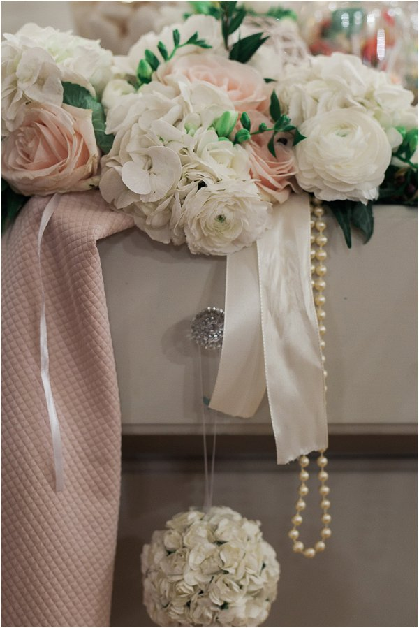 Pretty pastel wedding flowers and pearls