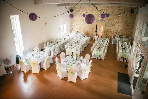 Purple and green french wedding reception