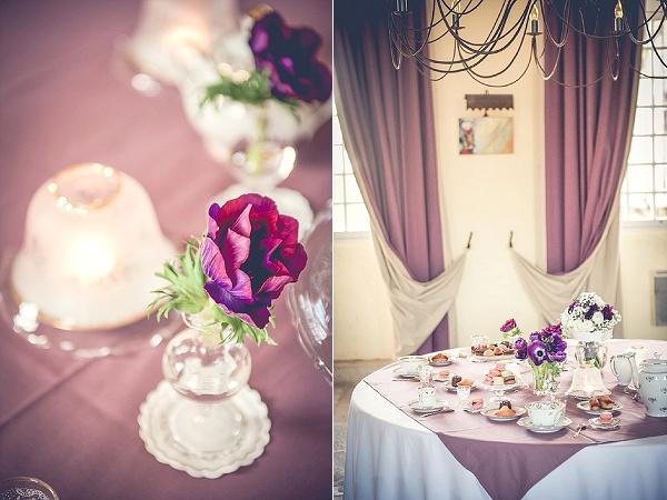 Purple wedding table colour scheme