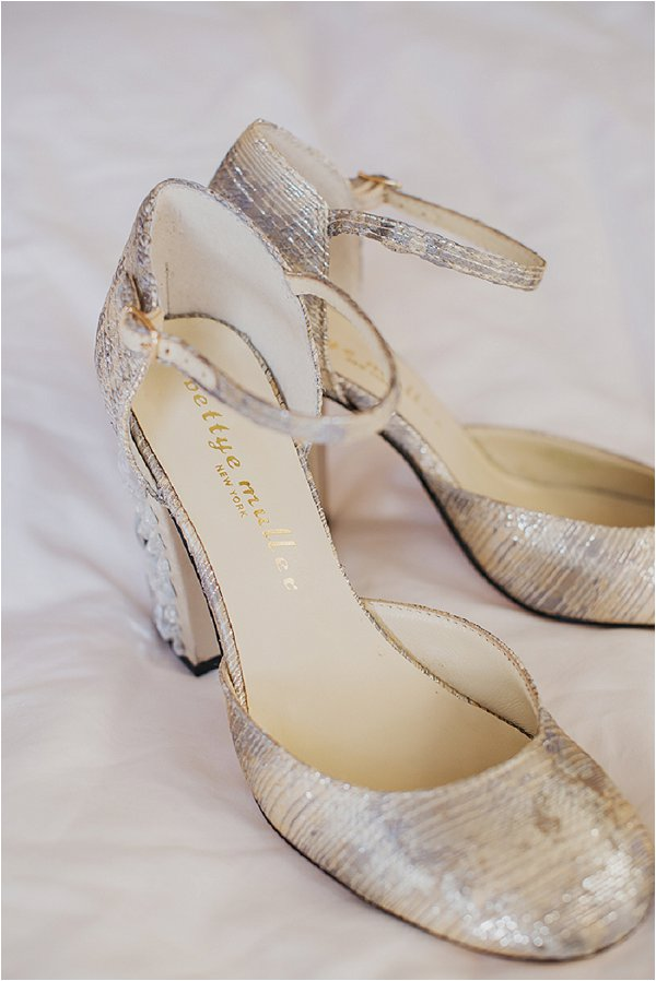 Shiny silver sequin wedding shoes